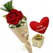 Solitário de Colombiana no Kraft com coração e Ferrero