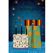"""Cartão """"Feliz Aniversário! Abra os Braços para Vida!"""""""