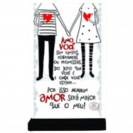 Placa Cartão MDF Amo Você