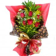 Buquê Europeu com 6 Rosas Vermelhas