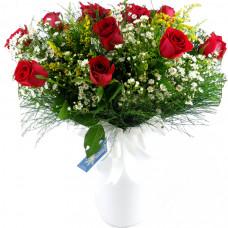 Buquê 18  de Rosas Nacionais  Vermelhas no Vaso