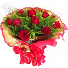 Buquê Italiano 1 Dúzia de Rosas Vermelhas